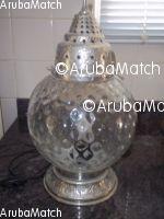 Aruba prachtige lamp glazen bol met zilver decoratie